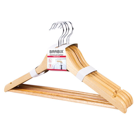 Вешалки-плечики, размер 48-50, КОМПЛЕКТ 5шт, деревянная, перекладина, цвет сосна, BRABIX