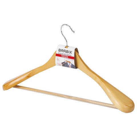 Вешалка-плечики, размер 48-50, деревянная, анатомическая, перекладина, цвет сосна, BRABIX