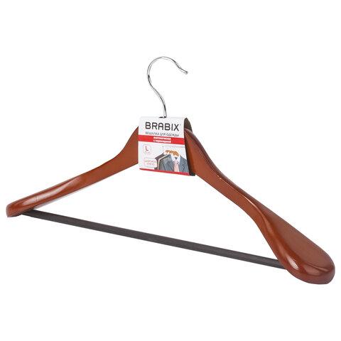 Вешалка-плечики, размер 48-50, деревянная, анатомическая, перекладина, цвет вишня, BRABIX