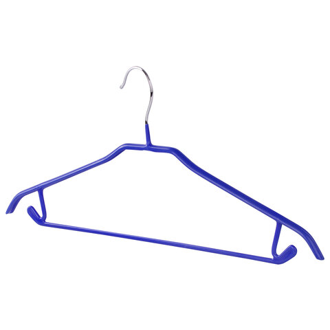 Вешалки-плечики, размер 46-48, КОМПЛЕКТ 3 шт., металл/ПВХ, крючки для юбок и бретелей, цвет синий, BRABIX