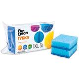 Губки бытовые для мытья посуды, комплект 5 шт., чистящий слой, 2,5х10х7 см, FUN CLEAN, XL, 6794