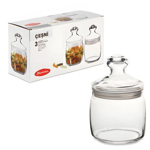 """Банки с крышкой """"Cesni"""" для сыпучих продуктов, набор 3 шт., 650 мл, стекло, PASABAHCE, 97424"""