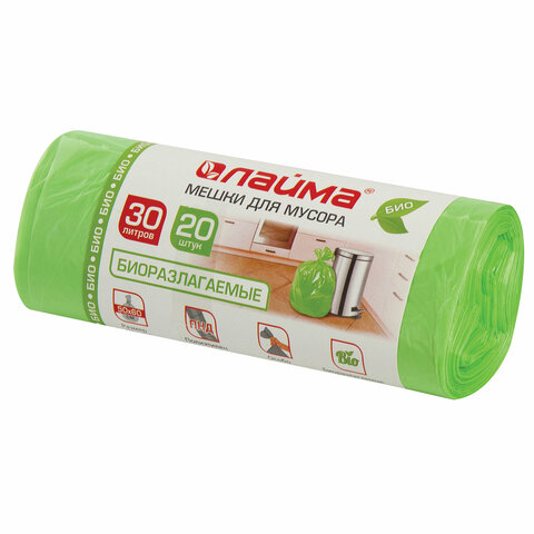 Мешки для мусора биоразлагаемые 30 л зеленые в рулоне 20 шт. прочные, ПНД 10 мкм, 50х60 см, LAIMA, 601400