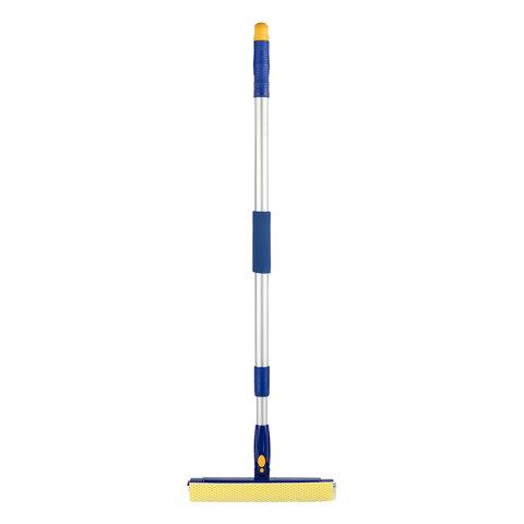Окномойка LAIMA вращающаяся, телескопическая ручка, рабочая часть 25 см (стяжка, губка, ручка), для дома и офиса, 601494