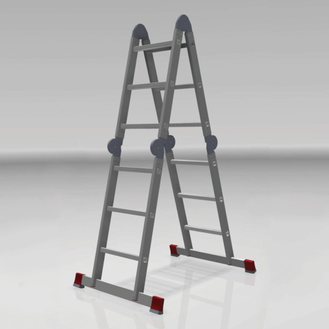 Лестница-трансформер 4х3 ступени, высота 3,48 м (4 секции по 0,94 м), алюминиевая, вес 14,5 кг, 604403