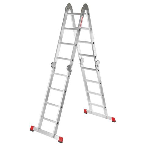 Лестница-трансформер 4х4 ступени, высота 4,52 м (4 секции по 1,2 м), алюминиевая, вес 16,5 кг, 604404