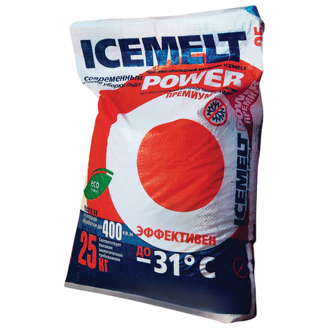 Реагент антигололедный 25 кг, ICEMELT Power, до -31С, хлористый кальций + ингибитор коррозии, мешок