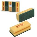 """Губки VILEDA """"Виледа"""", комплект 10 шт., для любых поверхностей, зеленый абразив, желтые, 7х9,5 см, 125604"""