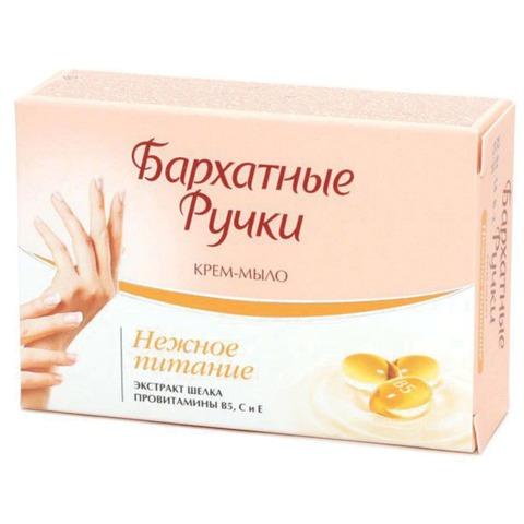 """Мыло-крем туалетное 75 г, БАРХАТНЫЕ РУЧКИ """"Экстракт шелка"""", нежное питание"""