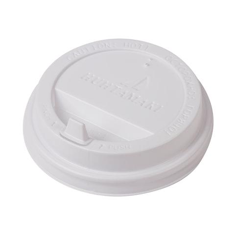 Одноразовая крышка для стакана 300-400 мл (d-90), КОМПЛЕКТ 100 шт., клапан-носик, белые, HUHTAMAKI, 9032, 77409032