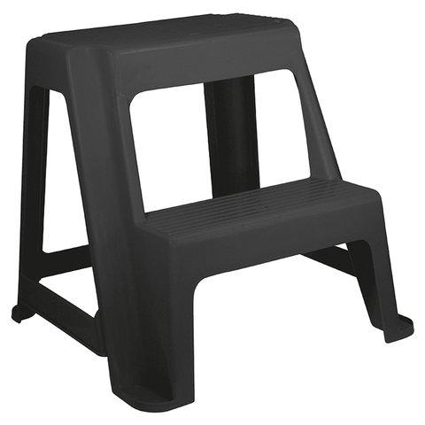 Стремянка-табурет, 2 ступени, стационарная, пластиковая, нагрузка 120 кг, вес 2,4 кг, черная, IDEA, М 2296