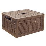 """Ящик 6,3 л, с крышкой, для хранения, универсальный, 12х28х18 см, коричневый, """"Ротанг"""", IDEA, М 2372"""
