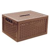 """Ящик 17 л, с крышкой, для хранения, универсальный, 19х37х28 см, коричнивый, """"Ротанг"""", IDEA, М 2375"""