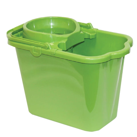 Ведро 9,5 л для уборки КОМПЛЕКТ с ОТЖИМОМ (сетчатый) пластик, зеленое (моп 602584,-585) IDEA, М2421, М 2421