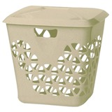 Корзина 45 л, с крышкой, для мусора/белья, прямоугольная, пластик, 43х37х47 см, бежевая, IDEA, М 2605