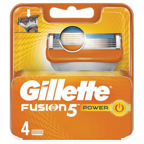 """Сменные кассеты для бритья 4 шт., GILLETTE (Жиллет) """"Fusion Power"""", для мужчин"""