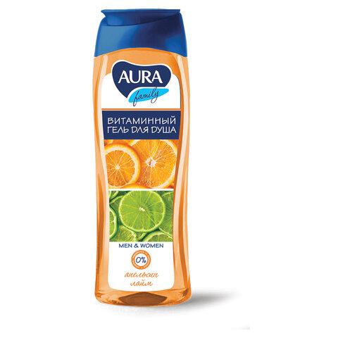 """Гель для душа 260 мл, AURA, витаминный, очищает и увлажняет кожу, """"Экстракт апельсина и лайма"""", 11610, 6424"""