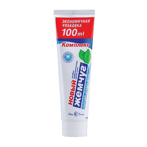 Зубная паста 100 мл, НОВЫЙ ЖЕМЧУГ, комплексная защита от кариеса, с сильным ароматом мяты, 17123
