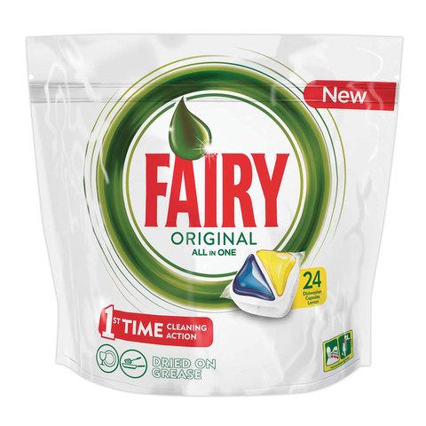 """Средство для мытья посуды в посудомоечных машинах, 24 шт., FAIRY (Фейри) """"All in 1 Лимон"""", капсулы, FR-81607019"""