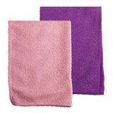 Салфетки универсальные из микрофибры ОФИСМАГ, комплект 2 шт., 25х25 см, фиолетовая + розовая, 603941