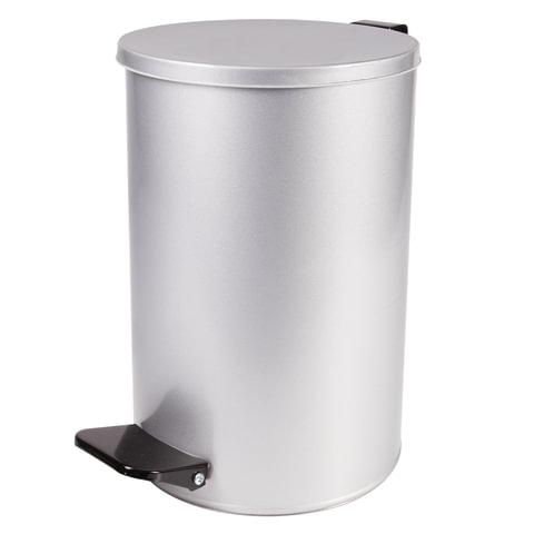 Ведро для мусора с педалью, УСИЛЕННОЕ, ТИТАН, 10 литров, серое, оцинкованная сталь