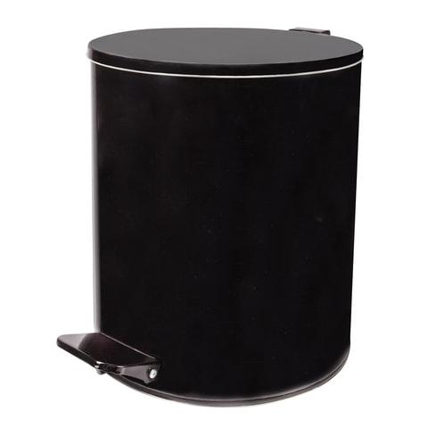 Ведро для мусора с педалью, УСИЛЕННОЕ, ТИТАН, 15 литров, черное, оцинкованная сталь
