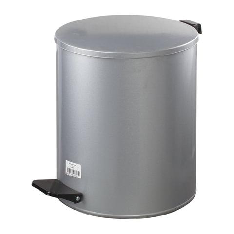 Ведро для мусора с педалью, УСИЛЕННОЕ, ТИТАН, 15 литров, серое, оцинкованная сталь