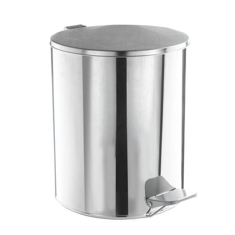 Ведро для мусора с педалью, УСИЛЕННОЕ, ТИТАН, 15 литров, зеркальное, нержавеющая сталь