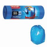 "Мешки для мусора 60 л, с ушками, синие, в рулоне 20 шт., ПНД, 14 мкм, 60х77 см, PACLAN ""Multitop"", 402092"