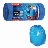 "Мешки для мусора 120 л, с ушками, синие, рулон 15 шт., ПВД, 24 мкм, 70х118 см, PACLAN ""Multitop"", 402045"