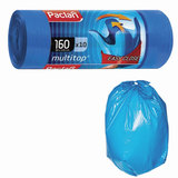 "Мешки для мусора 160 л, с ушками, синие, рулон 10 шт., ПВД, 30 мкм, 90х125 см, PACLAN ""Multitop"", 134442"