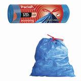 """Мешки для мусора, 120 л, комплект 10 шт., рулон, ПВД, 70х100 см, 21 мкм, с завязками, синие, PACLAN """"Economy"""", 402070"""