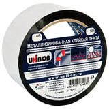 Клейкая лента металлизированная 48 мм х 50 м, UNIBOB, основа-ПП с алюминиевым напылением, подвес, 39117