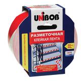 Клейкая лента разметочная 50 мм х 50 м, красно-белая, UNIBOB, основа-ПВХ, европодвес, 60885