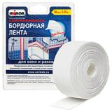 Клейкая лента бордюрная для ванн и раковин 38 мм х 3,35 м, UNIBOB, белая, блистер, 35544