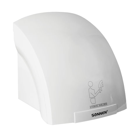 Сушилка для рук SONNEN HD-688, 2000 Вт, пластиковый корпус, белая, 604192