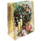 """Пакет подарочный ламинированный, 17,8х22,9х9,8 см, """"Шампанское у елки"""", 75305"""