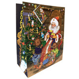 """Пакет подарочный ламинированный, 26х32,4х12,7 см, """"Дед Мороз и два медвежонка"""", 75317"""