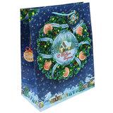 """Пакет подарочный ламинированный, 26х32,4х12,7 см, """"Новогодний венок"""", 75322"""