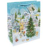 """Пакет подарочный ламинированный, 26х32,4х12,7 см, """"Новогодняя площадь"""", 75328"""