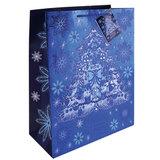 """Пакет подарочный ламинированный, 26х32,4х12,7 см, """"Елочка в голубом"""", плотный, с тиснением, 75373"""