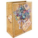 """Пакет подарочный ламинированный, 26х32,4х12,7 см, """"Еловый букет"""", плотный, глиттер, 75357"""