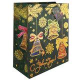 """Пакет подарочный ламинированный, 26х32,4х12,7 см, """"Елки"""", плотный, с тиснением, 75363"""