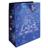 """Пакет подарочный ламинированный, 17,8х22,9х9,8 см, """"Елочка в голубом"""", с тиснением, 75353"""