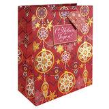 """Пакет подарочный ламинированный, 17,8х22,9х9,8 см, """"Золото на красном"""", с тиснением, 75352"""