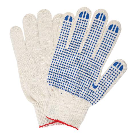 Перчатки хлопчатобумажные, КОМПЛЕКТ 5 пар, 10 класс, 40-42 г, 116 текс, ПВХ-точка, LAIMA
