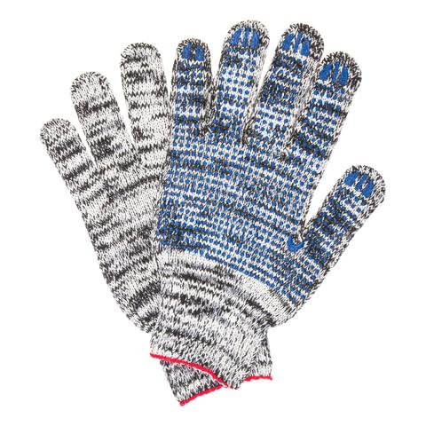 Перчатки хлопчатобумажные, КОМПЛЕКТ 5 ПАР, 7 класс, 60-62 г, 216 текс, ПВХ-точка, LAIMA