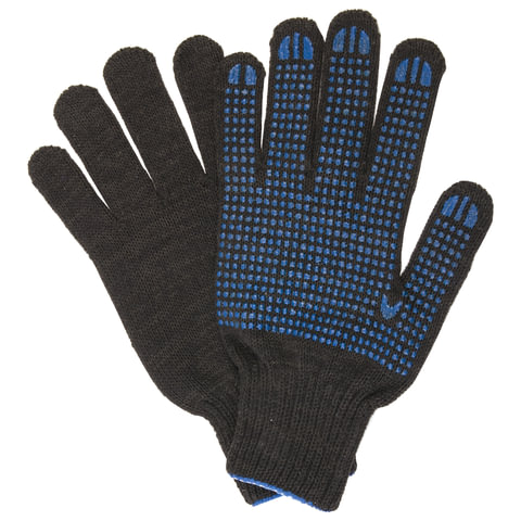 Перчатки хлопчатобумажные, КОМПЛЕКТ 5 ПАР, 7 класс, 65-67 г, 216 текс, ПВХ-точка, LAIMA