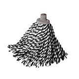 """Насадка МОП веревочная для швабры, крепление еврорезьба, черно-белая, хлопок, ворс 24 см, 160 г, YORK """"Zebra"""", 73060"""