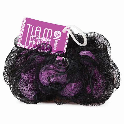 """Мочалка для тела, нейлон, 42 г, 10х10х10 см, черно-розовая, """"Шар премиум"""", TIAMO """"Original"""", 12630"""